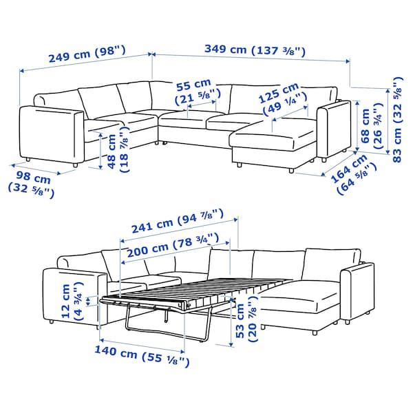 VIMLE Ugaona sofa ležaj i lenjivac, 5-sed, Saxemara crno-plava