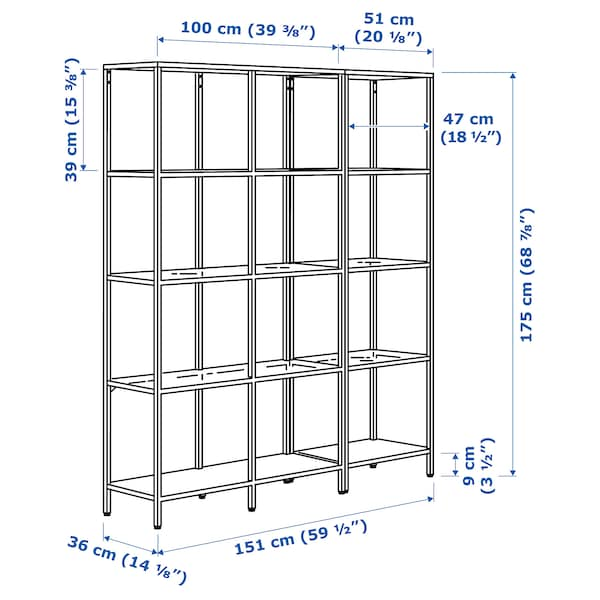 VITTSJÖ Kombinacija za odlaganje, crnosmeđa/staklo, 151x36x175 cm
