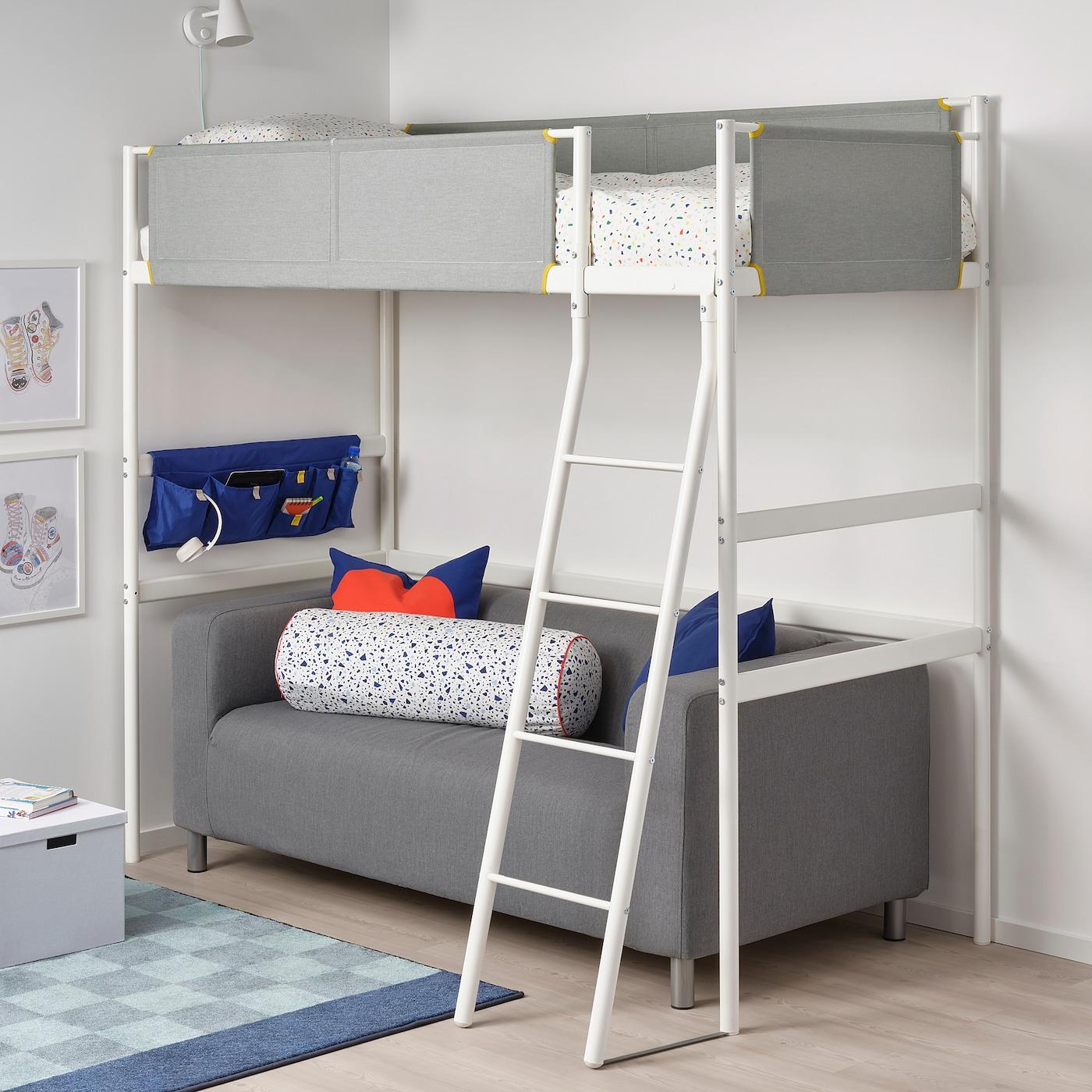 VITVAL Okvir izdignutog kreveta, bela/svetlosiva, 90x200 cm