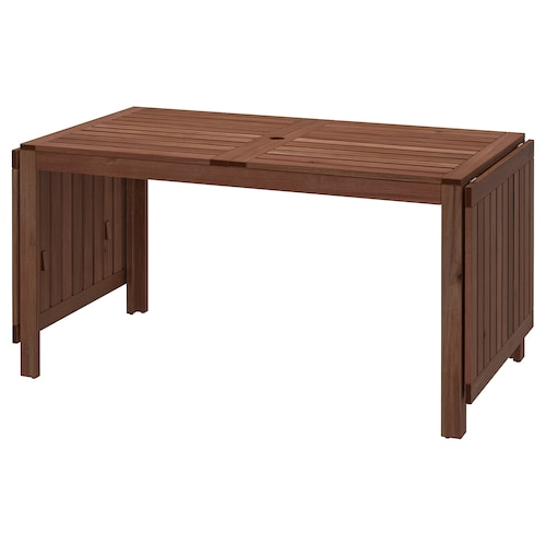 ÄPPLARÖ طاولة بجناح يطوى، خارجية صباغ بني 200 سم 140 سم 260 سم 78 سم 72 سم 5 سم