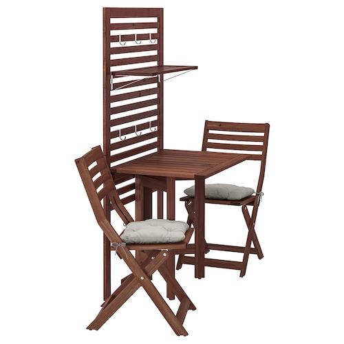 ÄPPLARÖ لوح حائط+طاولة بأرجل تطوى+كرسيين صباغ بني/Kuddarna رمادي
