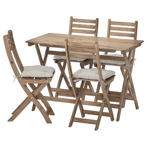 ASKHOLMEN طاولة+4 كراسي قابلة للطي، خارجية صباغ رمادي-بني/Kuddarna رمادي
