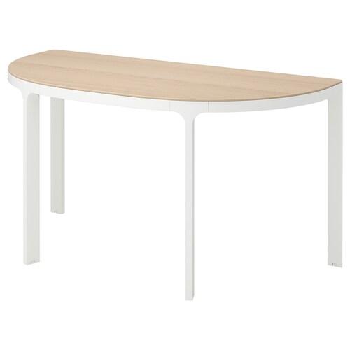 BEKANT طاولة مؤتمرات قشرة سنديان مصبوغ أبيض/أبيض 140 سم 70 سم 73 سم 100 كلغ