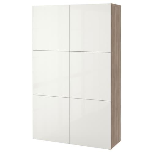 BESTÅ تشكيلة تخزين مع أبواب مظهر الجوز مصبوغ رمادي/Selsviken أبيض/لامع 120 سم 40 سم 192 سم