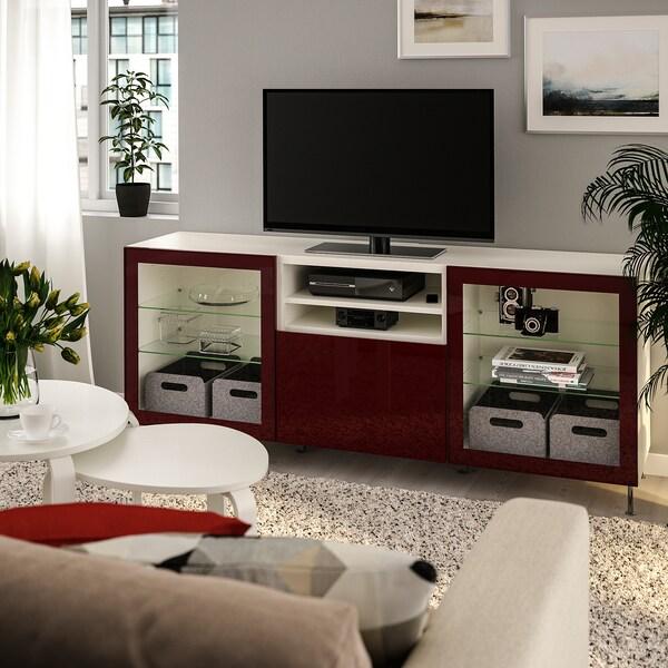 BESTÅ منصة تلفزيون مع أدراج أبيض Selsviken/Stallarp/لامع أحمر-بني غامق 180 سم 42 سم 74 سم 50 كلغ