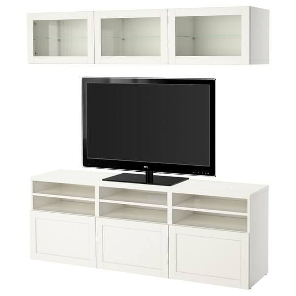 BESTÅ تشكيلة تخزين تلفزيون/أبواب زجاجية Hanviken/Sindvik أبيض زجاج شفاف 180 سم 40 سم 192 سم