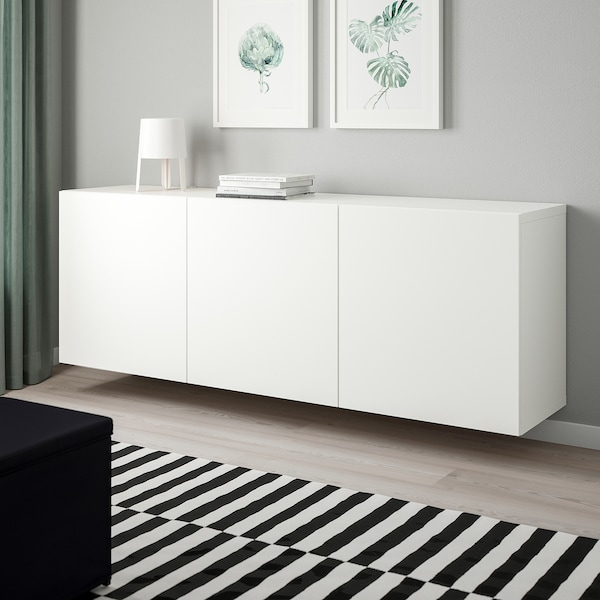 BESTÅ تشكيلة خزانة حائطية أبيض/Lappviken أبيض 180 سم 42 سم 64 سم