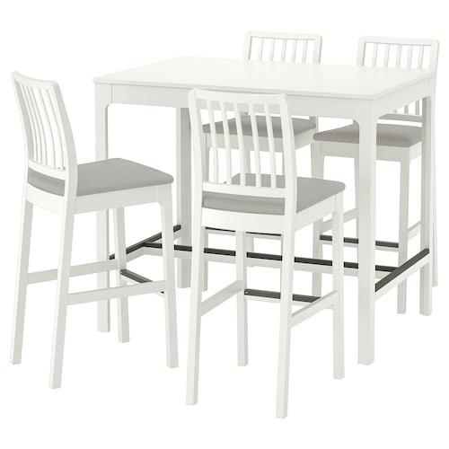EKEDALEN / EKEDALEN طاولة عالية و 4 مقاعد عالية أبيض/Orrsta رمادي فاتح 120 سم