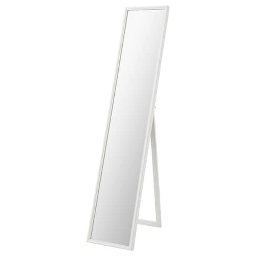 FLAKNAN مرآة بحامل أبيض 30 سم 53 سم 150 سم