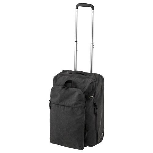 FÖRENKLA حقيبة تخزين على عجلات وحقيبة ظهر رمادي غامق 34 سم 20 سم 52 سم
