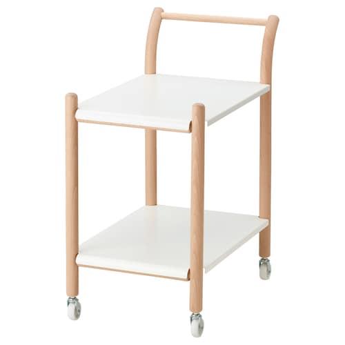 IKEA PS 2017 طاولة جانبية على عجلات زان/أبيض 69 سم 40 سم 80 سم 25 كلغ