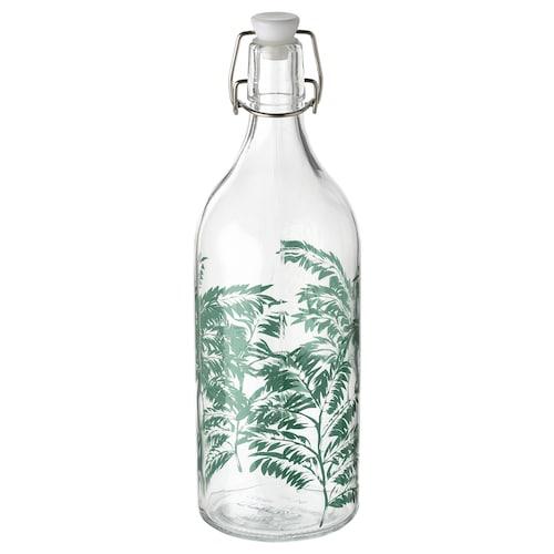 KORKEN قنينة مع سدادة زجاج شفاف/منقوش 29 سم 9 سم 1 ل