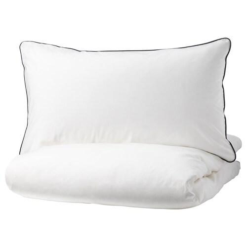 KUNGSBLOMMA غطاء لحاف/2كيس مخدة أبيض/رمادي 200 بوصة مربعة 2 قطعة 220 سم 240 سم 50 سم 80 سم