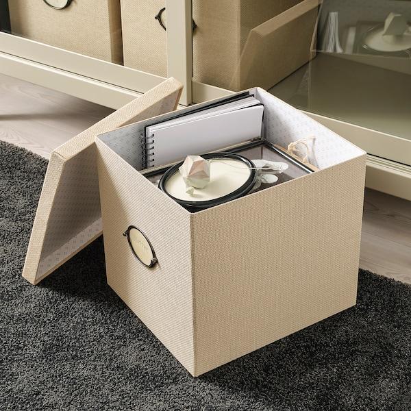 KVARNVIK صندوق تخزين مع غطاء بيج 35 سم 32 سم 32 سم