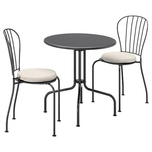 LÄCKÖ طاولة+2كراسي، خارجية رمادي/Frösön/Duvholmen بيج