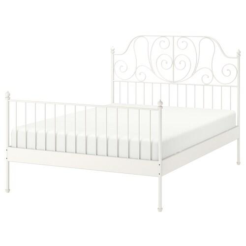 LEIRVIK هيكل سرير أبيض/Lonset 209 سم 188 سم 98 سم 146 سم 200 سم 180 سم