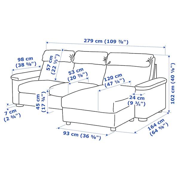 LIDHULT كنبة 3 مقاعد مع أريكة طويلة/Gassebol بيج فاتح 102 سم 76 سم 164 سم 279 سم 120 سم 7 سم 231 سم 53 سم 45 سم