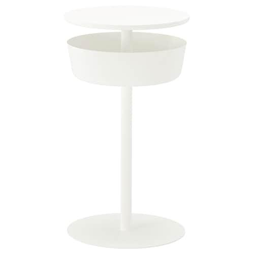 LIERSKOGEN طاولة سرير جانبية أبيض 74 سم 42 سم