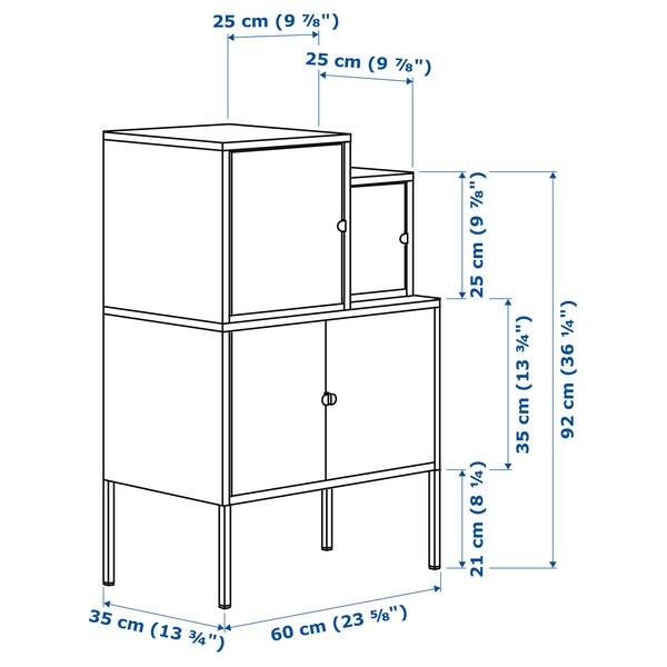 LIXHULT تشكيلة تخزين رمادي برتقالي/زهري 70 سم 92 سم 60 سم 35 سم 21 سم