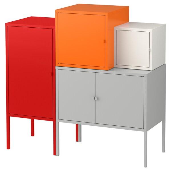 LIXHULT تشكيلة تخزين رمادي/أبيض/برتقالي/أحمر 70 سم 92 سم 95 سم 35 سم 92 سم 21 سم 12 كلغ