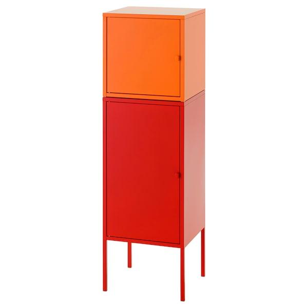 LIXHULT تشكيلة تخزين أحمر/برتقالي 95 سم 117 سم 35 سم 35 سم 21 سم 12 كلغ