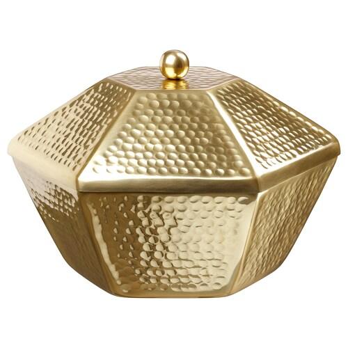 LJUV وعاء تقديم مع غطاء لون ذهبي 30 سم 26 سم 20 سم