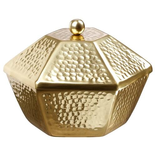 LJUV وعاء تقديم مع غطاء لون ذهبي 25 سم 22 سم 17 سم