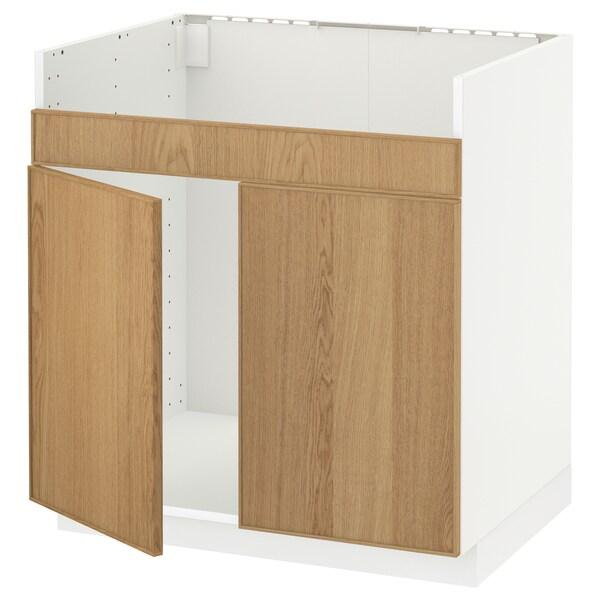 METOD خزانة قاعدة لحوض مزدوج HAVSEN أبيض/Ekestad سنديان 80.0 سم 61.9 سم 88.0 سم 60.0 سم 80.0 سم