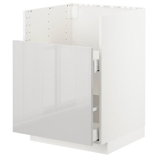 METOD قاعدة خزانة حوض غسيل BREDSJÖN أبيض/Ringhult رمادي فاتح 60.0 سم 61.6 سم 88.0 سم 60.0 سم 80.0 سم