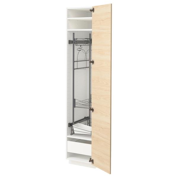 METOD / FÖRVARA خزانة مرتفعة مع أرفف مواد نظافة أبيض/Askersund مظهر دردار خفيف 40.0 سم 61.6 سم 208.0 سم 60.0 سم 200.0 سم