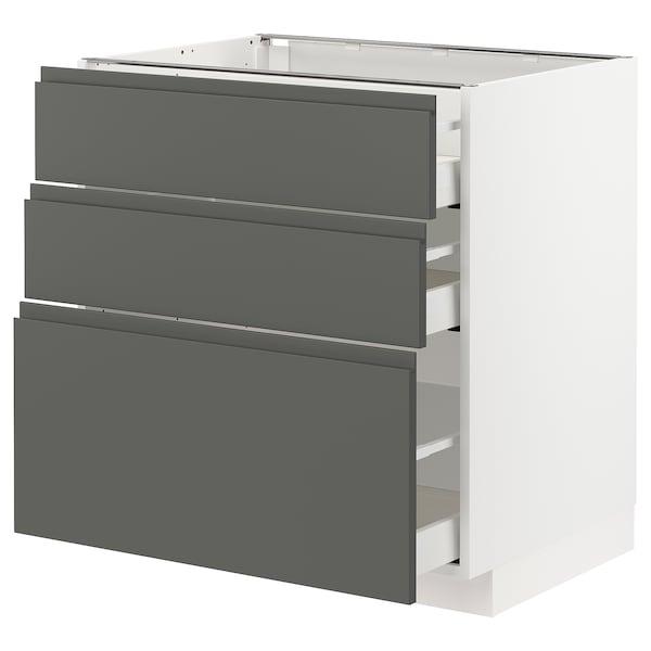 METOD / MAXIMERA خزانة أساسية مع 3 أدراج أبيض/Voxtorp رمادي غامق 80.0 سم 62.1 سم 88.0 سم 60.0 سم 80.0 سم