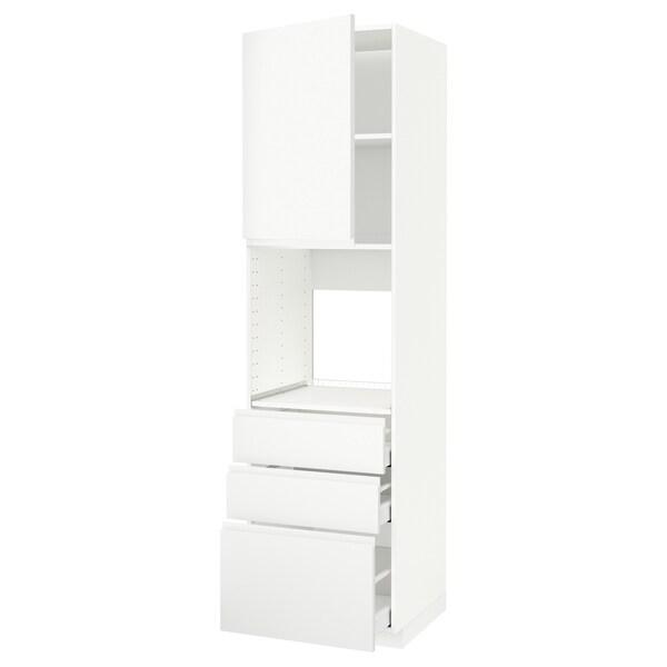 METOD / MAXIMERA خزانة عالية للفرن مع باب/3 أدراج أبيض/Voxtorp أبيض مطفي 60.0 سم 62.1 سم 228.0 سم 60.0 سم 220.0 سم