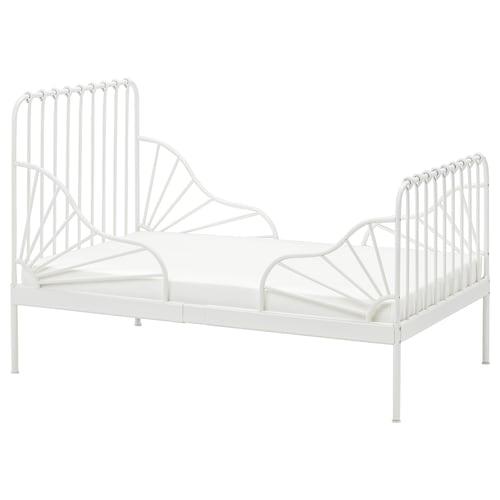 MINNEN سرير قابل للتمديد مع قاعدة شرائحية أبيض 135 سم 206 سم 85 سم 72 سم 92 سم 23 سم 100 كلغ 200 سم 80 سم