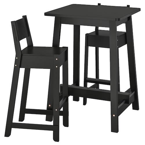 NORRÅKER / NORRÅKER طاولة عالية و 2 مقعد عالي أسود/أسود 74 سم 74 سم 104 سم
