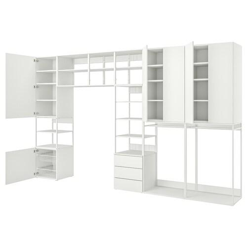 PLATSA تشكيلة تخزين 6 أبواب+3 أدراج أبيض/Fonnes أبيض 420 سم 42 سم 241 سم