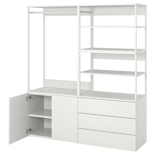 PLATSA دولاب ملابس مع بابين + 3 أدراج. أبيض/Fonnes أبيض 160 سم 42 سم 181 سم