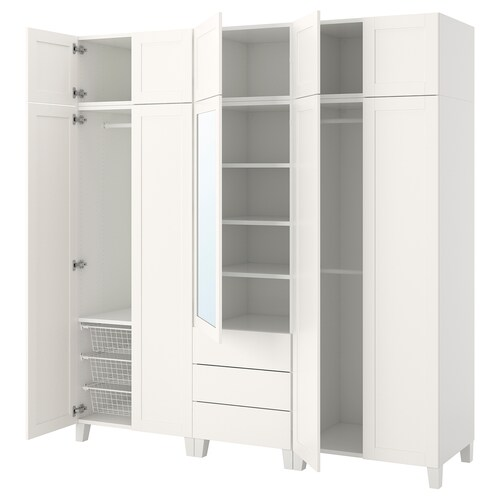 PLATSA دولاب ملابس أبيض/Sannidal Ridabu 220 سم 57 سم 231 سم