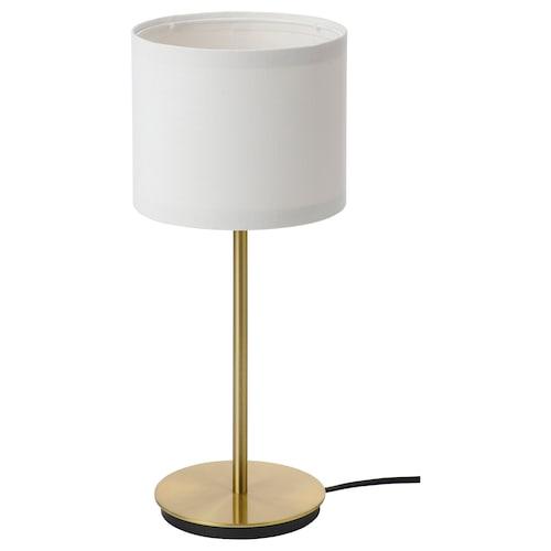 RINGSTA / SKAFTET مصباح طاولة أبيض/نحاس أصفر 41 سم 15 سم 19 سم 2.0 م 8.6 واط