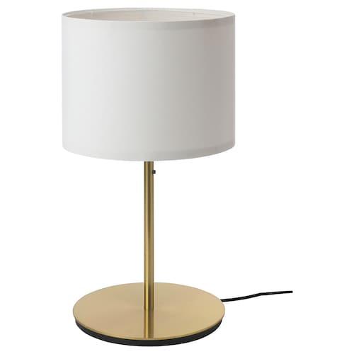 RINGSTA / SKAFTET مصباح طاولة أبيض/نحاس أصفر 56 سم 33 سم 29 سم 2.0 م 13 واط