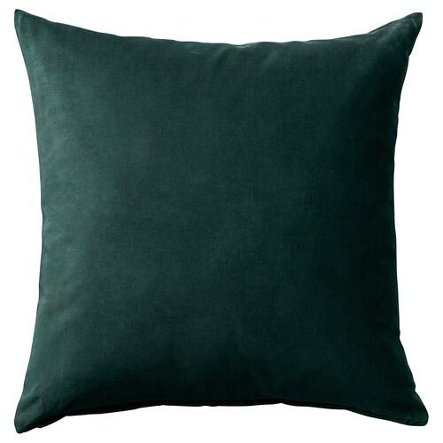 SANELA غطاء وسادة أخضر غامق 50 سم 50 سم