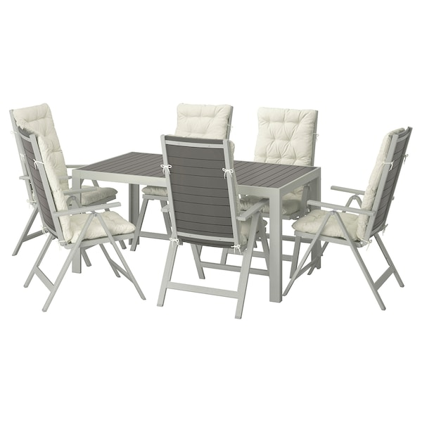 SJÄLLAND طاولة+6 كراسي استلقاء، خارجية رمادي غامق/Kuddarna بيج 156 سم 90 سم 73 سم