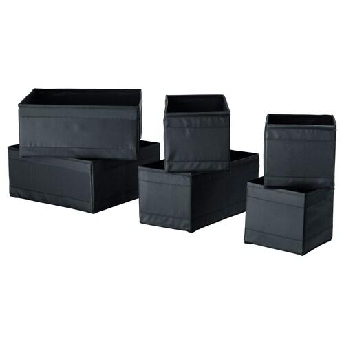 SKUBB صندوق، طقم من 6 أسود