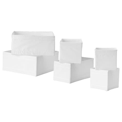 SKUBB صندوق، طقم من 6 أبيض