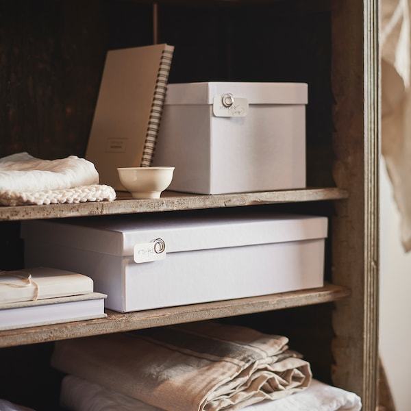 TJENA صندوق تخزين مع غطاء أبيض 25 سم 18 سم 15 سم