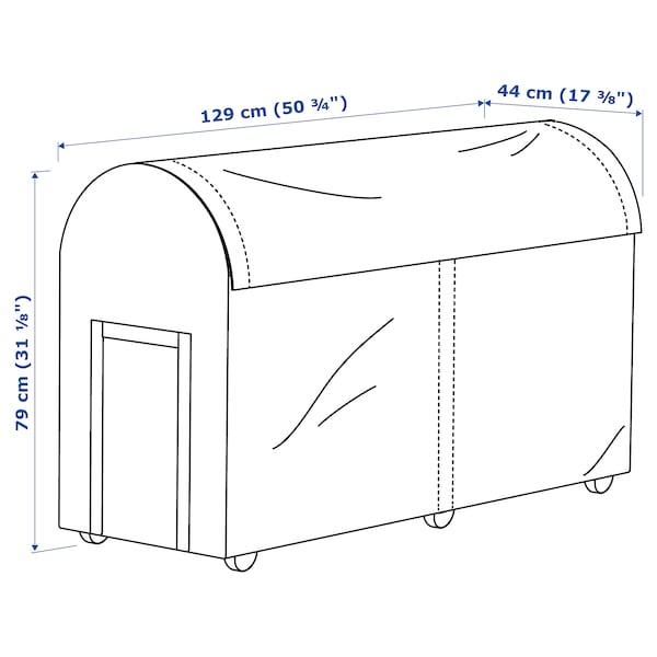TOSTERÖ صندوق تخزين، خارجي أسود 129 سم 44 سم 79 سم
