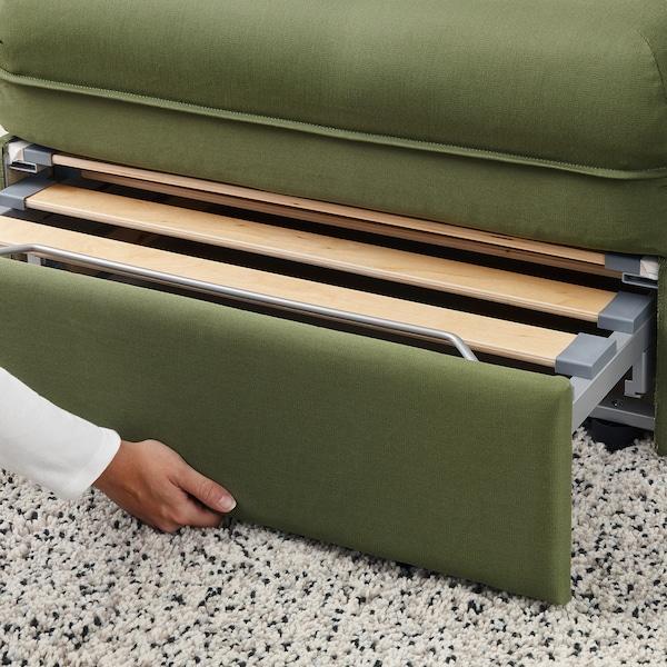 VALLENTUNA وحدة كنب 3 مقاعد مع كنبة سرير مع طرف مفتوح/Orrsta أخضر زيتوني 273 سم 84 سم 93 سم 80 سم 45 سم 80 سم 200 سم