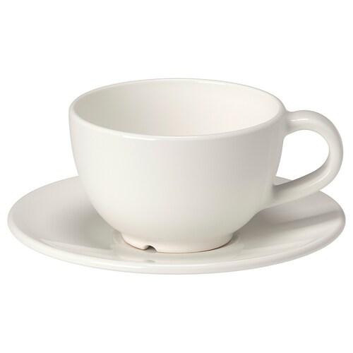 VARDAGEN كوب قهوة مع صحن أبيض-عاجي 14 سم 6 سم 6 سم 14 سل