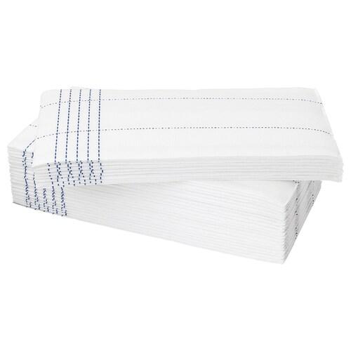 VERKLIGHET مناديل ورقية أبيض/أزرق 38 سم 38 سم 30 قطعة