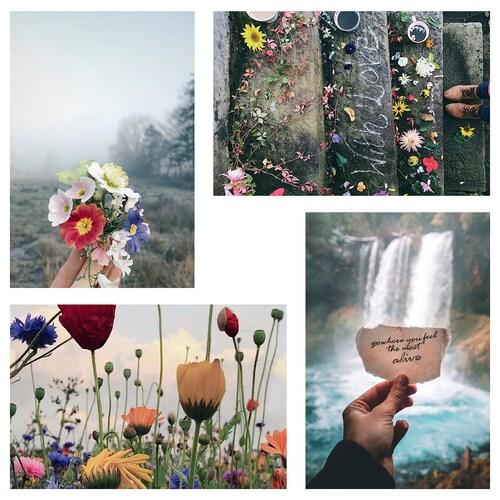 YLLEVAD بطاقة فنية أزهار 10 سم 15 سم 4 قطعة