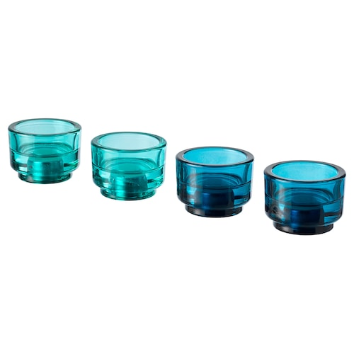 ÄDELHET candlestick/tealight holder blue/turquoise 5 cm 7 cm 4 pack